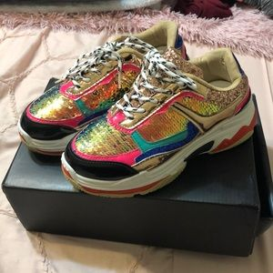 Sequin multicolored tennis shoes